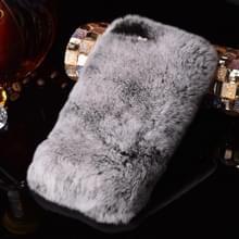 iPhone 7 met nep diamanten ingelegd Konijnenbont + kunststof back cover Hoesje (grijs)