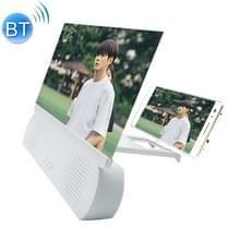 F9 10 inch Universal Mobile Phone Screen Amplifier HD Video Amplifier met Siliconen Suction Cup Stand & Bluetooth Speaker (Wit)