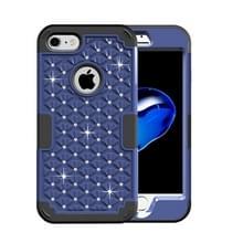 iPhone 7 & 8 met nep diamanten ingelegd omhullend Siliconen + Kunststof Hoesje (donker blauw + zwart)