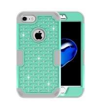 iPhone 7 & 8 met nep diamanten ingelegd omhullend Siliconen + Kunststof Hoesje (groen + grijs)