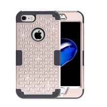 iPhone 7 & 8 met nep diamanten ingelegd omhullend Siliconen + Kunststof Hoesje (goudkleurig + zwart)