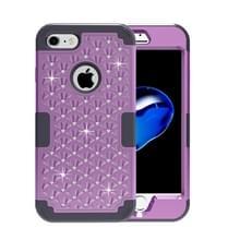 iPhone 7 & 8 met nep diamanten ingelegd omhullend Siliconen + Kunststof Hoesje (paars + zwart)