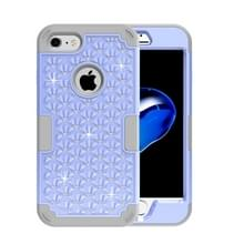 iPhone 7 & 8 met nep diamanten ingelegd omhullend Siliconen + Kunststof Hoesje (paars + grijs)