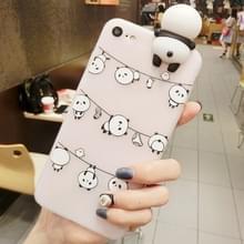 Voor iPhone Hang 8 & 7 de kleren Panda's patroon 3D mooie Papa Panda Dropproof back cover beschermhoes