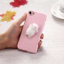 Voor iPhone 8 & 7 3D kleine beer roze oren patroon Squeeze Relief Squishy Dropproof back cover beschermhoes