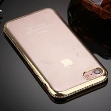 iPhone 7 & 8 TPU back cover Hoesje met nep diamanten ingelegd gegalvaniseerd bumper frame (goudkleurig)
