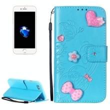 iPhone 7 & 8 horizontaal met nep diamanten ingelegd Roze hartje en strikje patroon PU leren Flip Hoesje met houder  foto frame  draagriem en opbergruimte voor pinpassen & geld (blauw)