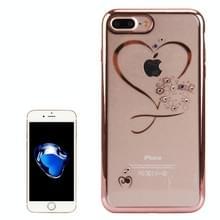 Voor iPhone 8 Plus & 7 Plus galvaniseren Diamond Encrusted TPU beschermende Case(Rose Gold)