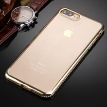 iPhone 7 Plus & 8 Plus transparant TPU back cover Hoesje met nep diamanten ingelegd frame (goudkleurig)