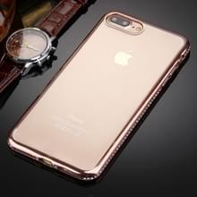 iPhone 7 Plus & 8 Plus transparant TPU back cover Hoesje met nep diamanten ingelegd frame (roze goudkleurig)