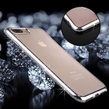 iPhone 7 Plus & 8 Plus transparant TPU back cover Hoesje met nep diamanten ingelegd frame (zilverkleurig)