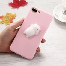 Voor iPhone 8 & 7 Plus 3D kleine beer roze oren patroon Squeeze Relief Squishy Dropproof back cover beschermhoes