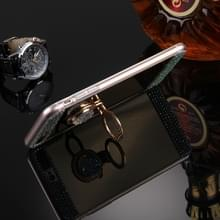 iPhone 7 Plus & 8 Plus met nep diamanten ingelegd spiegelend TPU back cover Hoesje met kleurrijke houder (goudkleurig)