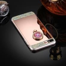Voor iPhone 8 Plus & 7 Plus Diamond Encrusted galvaniseren spiegel Cover beschermhoes met verborgen Ring Holder(Rose Gold)