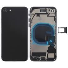 Batterij terug dekken vergadering met kant sleutels & Vibrator & Loud spreker & / uit-knop + Volume knop Flex kabel & kaarthouder voor iPhone 8(Black)