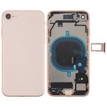 Batterij achtercover montage met Zijknop & vibrator & luidspreker & aan/uit-knop + volume knop Flex kabel & kaart lade voor iPhone 8 (Rose Gold)