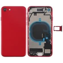 Battery Back Cover Assembly met Side Keys & Vibrator & Loud Speaker & Power Button + Volume Button Flex Cable & Card Tray voor iPhone 8(Rood)