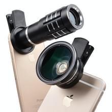 Universele 12 X Telephoto Lens + 0 45 X groothoeklens + 12 5 X Macro Lens Kit  voor iPhone  Galaxy  Huawei  Xiaomi  LG  HTC en andere Smart Phones (zwart)