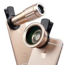 Universele 12X telephoto lens + 0.45 X groothoeklens + 12 5 X macro lens kit  voor iPhone  Galaxy  Huawei  Xiaomi  LG  HTC en andere smartphones (goud)
