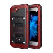 Waterdichte stofdichte schokbestendige zink legering + siliconen case voor iPhone 8 & 7 (rood)