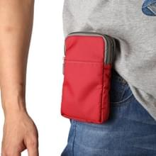 Multifunctionele casual sport mobiele telefoon dubbele rits taille pack diagonale tas voor 6 9 inch of onder smartphones (rood)