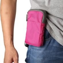 Multifunctionele casual sport mobiele telefoon dubbele rits taille pack diagonale tas voor 6 9 inch of onder smartphones (Rose Red)