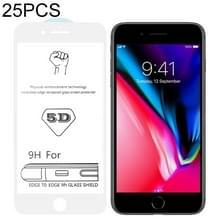 25 stuks 9H 5D witte volledige lijm volledig scherm gehard glas film voor iPhone 7/8