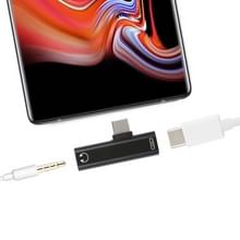 2 in 1 USB-C / Type-C Male naar USB-C / Type-C Female 3.5mm Jack opladen luisteren Adapter (zwart)