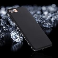 iPhone 7 Plus & 8 Plus Frosted structuur TPU back cover Hoesje met nep diamanten ingelegd frame (zwart)