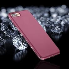 iPhone 7 Plus & 8 Plus Frosted structuur TPU back cover Hoesje met nep diamanten ingelegd frame (paars)