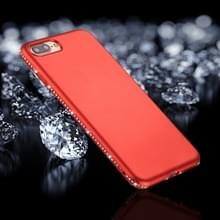 iPhone 7 Plus & 8 Plus Frosted structuur TPU back cover Hoesje met nep diamanten ingelegd frame (rood)