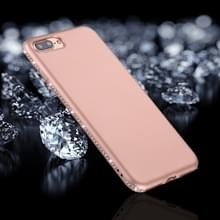 iPhone 7 Plus & 8 Plus Frosted structuur TPU back cover Hoesje met nep diamanten ingelegd frame (roze goudkleurig)