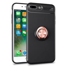 Metalen ringhouder 360 graden roterende TPU-hoes voor iPhone 8 Plus & 7 Plus (Zwart+Goud)