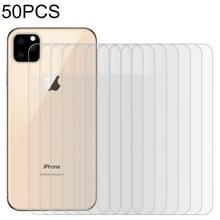 50 stuks voor iPhone 11 Pro 9H 2.5 D half-scherm transparante mobiele telefoon gehard glas film terug film