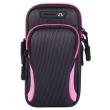 Multi-functionele universele dubbele laag rits sport arm Case telefoon tas met oortelefoon gat voor 6 6 inch of onder smartphones (roze)