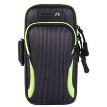 Multifunctionele universele dubbellaagse rits sport arm Case telefoon tas met oortelefoon gat voor 6 6 inch of onder smartphones (groen)
