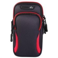 Multifunctionele universele dubbellaagse rits sport arm Case telefoon tas met oortelefoon gat voor 6 6 inch of onder smartphones (rood)