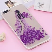 iPhone 7 Plus & 8 Plus Glitter poeder structuur Bloemen prinses patroon TPU back cover Hoesje