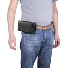 Mannen lamsvacht textuur multi-functionele universele mobiele telefoon taille pack lederen case voor 5 5 inch of onder smartphones (zwart)