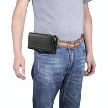 Mannen lamsvacht textuur multi-functionele universele mobiele telefoon taille pack lederen case voor 6 0 inch of onder smartphones (zwart)