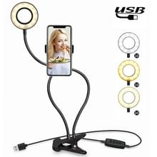 Make-up USB Selfie Ring Light met Clip lui beugel Cell Phone houder staan  met 3-Light modus  10-niveau helderheid LED bureaulamp  compatibel met iPhone / Android  voor Live Stream  KTV  Live uitzending  Live Show  enz
