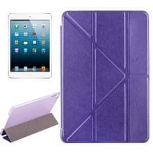 Transformers stijl zijde textuur horizontale Flip effen kleur lederen draagtas met houder voor iPad mini 2019 (paars)