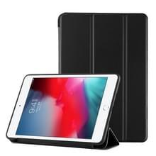 iPad mini 2019 PU Plastic geval opvouwbare vervorming links onderaan en rechts Flip lederen draagtas met drie vouwen beugel & Smart Sleep(Black)