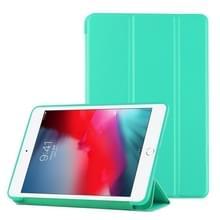 PU plastic bodem geval opvouwbare vervorming links en rechts Flip lederen draagtas met drie voudige beugel & Smart Sleep voor iPad mini 2019 (mintgroen)