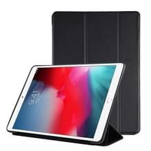 iPad Air 2019 PU Plastic geval opvouwbaar vervorming links onderaan en rechts Flip lederen draagtas met drie vouwen beugel & Smart Sleep(Black)