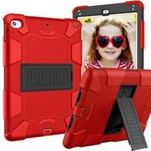 Schokbestendige tweekleurige siliconen beschermhuls voor iPad mini 2019 & 4  met houder (rood + zwart)
