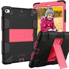 Schokbestendige tweekleurige siliconen beschermhuls voor iPad mini 2019 & 4  met houder (zwart + rood)