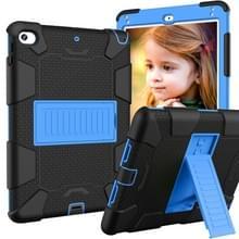 Schokbestendige tweekleurige siliconen beschermhuls voor iPad mini 2019 & 4  met houder (zwart + blauw)