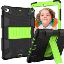 Schokbestendige tweekleurige siliconen beschermhuls voor iPad mini 2019 & 4  met houder (zwart + geel-groen)
