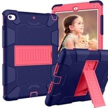 Schokbestendige tweekleurige siliconen beschermhuls voor iPad mini 2019 & 4  met houder (marineblauw + Rose rood)